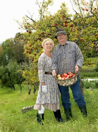 mature couple in garden