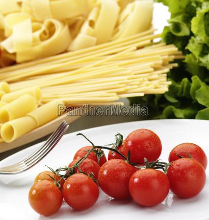 variety of raw pasta and fresh