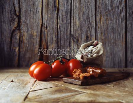 roma tomatoes on vine chorizo and