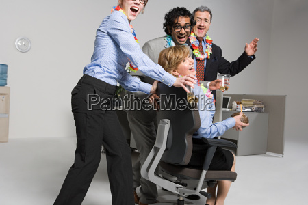 business people enjoying office party