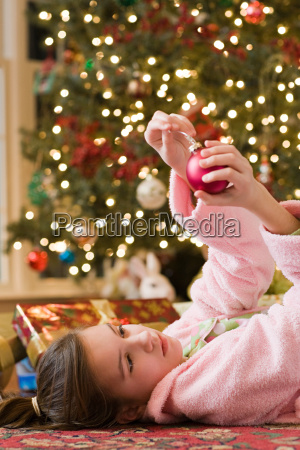 girl with christmas bauble