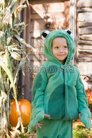 boy dressed as a frog