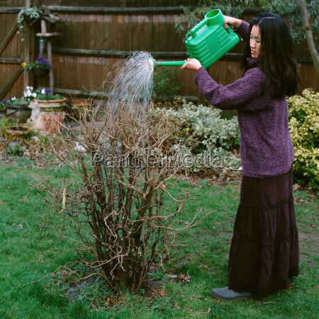 woman watering a dry plant