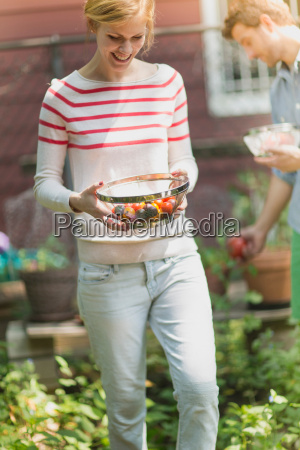 young woman holding sieve with tomatoes
