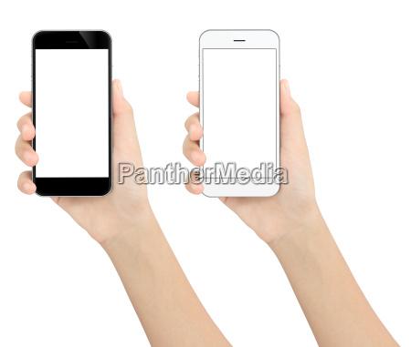 hand, holding, black, and, white, phone - 18943953