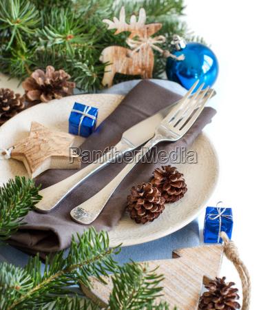 blu e marrone tavolo di natale