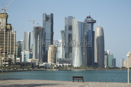 futuristic skyscrapers on the doha skyline
