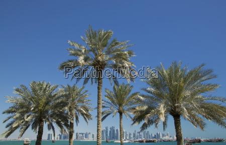 futuristic skyscrapers on the distant doha