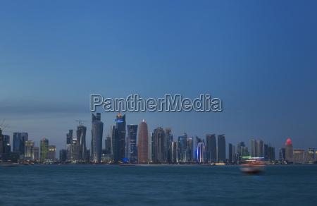 futuristic skyscrapers in doha qatar middle