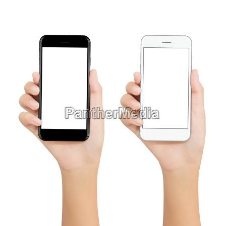 le, donne, tengono, il, telefono, mostrando - 19059331