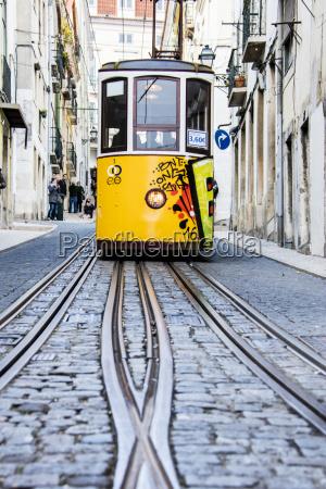 il tram giallo caratteristico procede verso