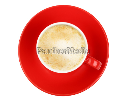 latte cappuccino coffee red cup isolated