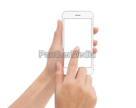 telefono, a, contatto, a, mano, isolato - 19205191