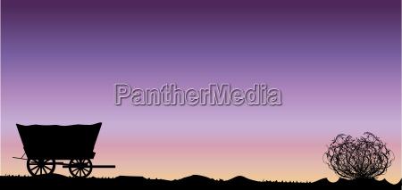 deserto tramonto alba carrozza coperto giorno