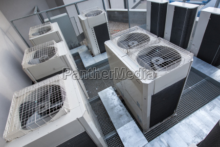 air conditioning equipment atop a modern