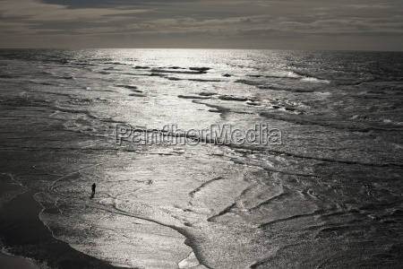 silhouetted person paddling in sunlit sea