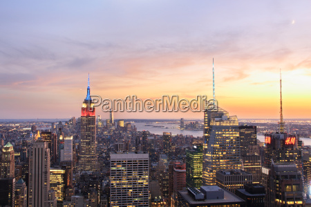 view of manhattan skyline and empire