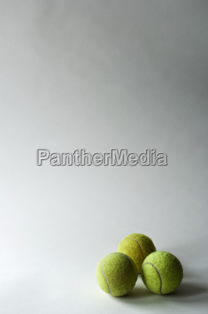 three tennis balls studio shot