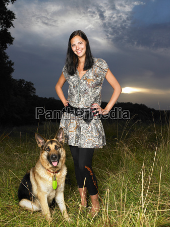 woman with her dog in a