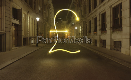 glowing pound symbol in city street