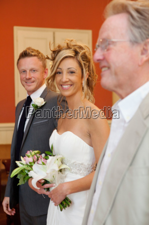 bride groom and brides father at