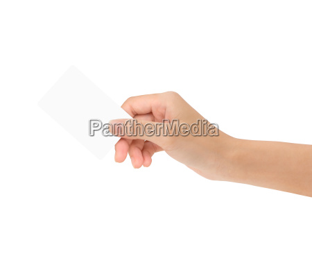 hand holding blank card isolated with