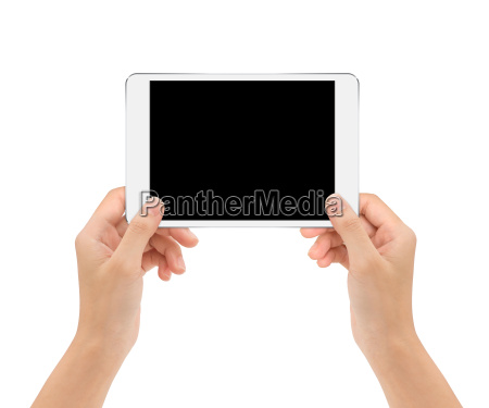 tablet, in, woman, hand, isolated, on - 19639081
