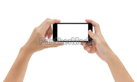 hand, holding, phone, isolated, on, white - 19650009