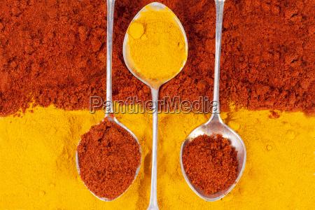 paprika peperoni polvere curry curcuma peperoncino