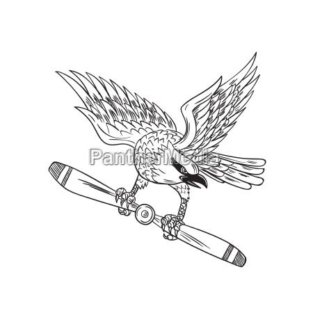 shrike clutching propeller blade black and