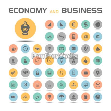 icone di affari e di economia