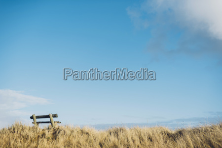 denmark hals empty bench in dunes