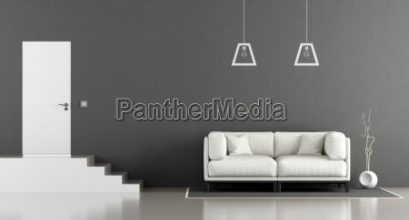 minimalist black and white lounge