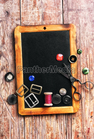 sewing thread and buttons