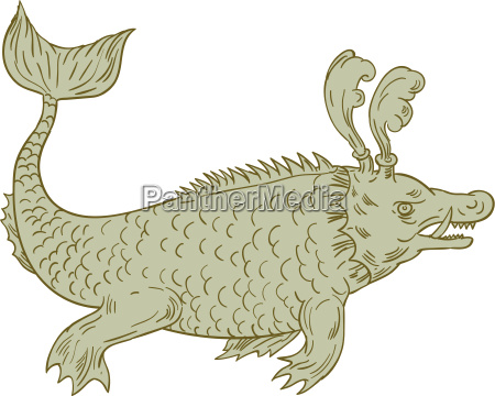 ancient sea monster drawing
