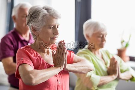 anziani che fanno yoga con gli