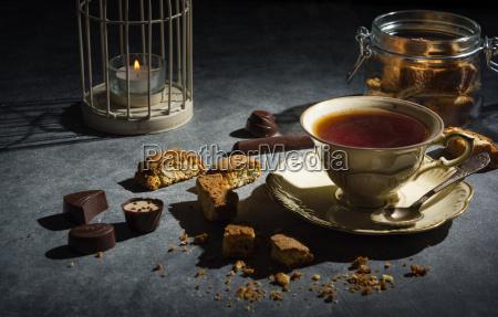 tazza, di, tè, biscotti, di, mandorle, e - 20502223
