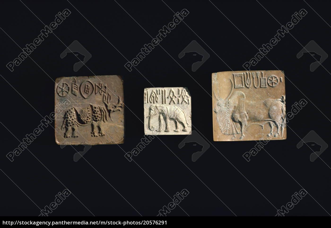 sigilli, raffiguranti, animali, della, civiltà, dell'indo - 20576291