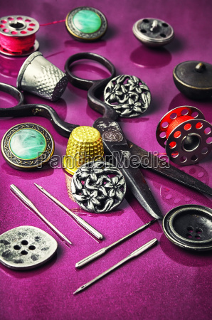 needle button and thread