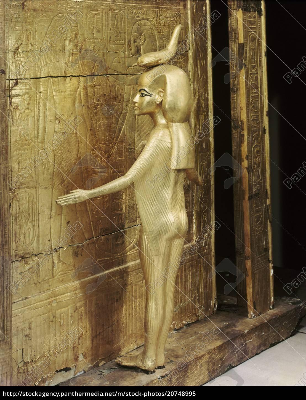 statua, della, dea, protettrice, serket, petto - 20748995