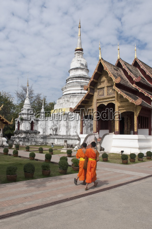 young buddhist monks in wat phra