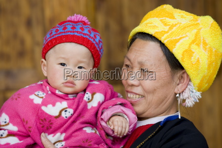 grandmother and child from zhuang minority