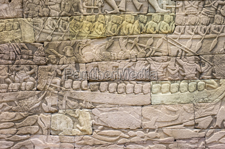 bas relief stone carvings depicting a