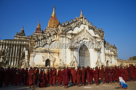 procession of buddhist monks at the