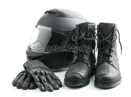 casco moto guanti e stivali