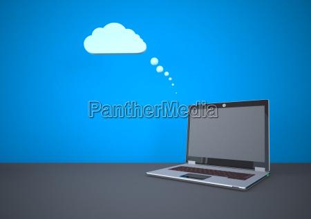 illustrazione di cloud computing con computer