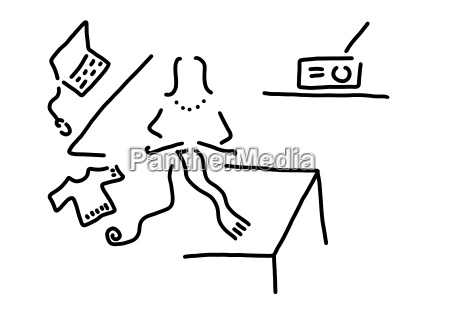donna portatile computer casalinga tempo libero
