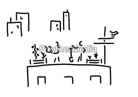 giardinaggio urbano disegno di linea bianco