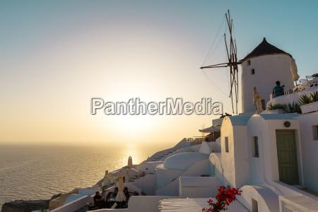 greece santorini oia houses and wind
