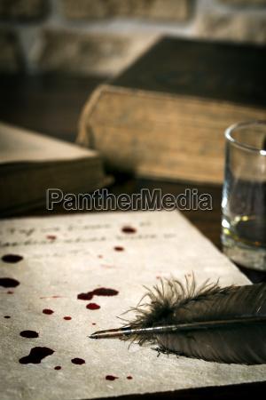 lettera di suicidio su carta pergamena